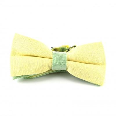 Pajarita Lisa Oxford Amarilla y Verde