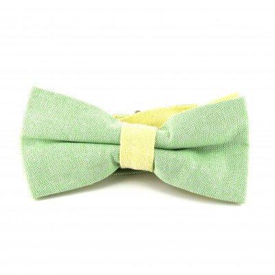 Pajarita Lisa Oxford Verde y Amarilla