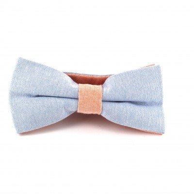 Pajarita Lisa Oxford Azul Celeste y Naranja