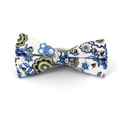 Pajarita de Flores Blanca y Azul