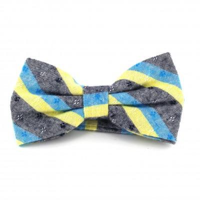 Pajarita Rayas Gris, Azul Claro y Amarillo