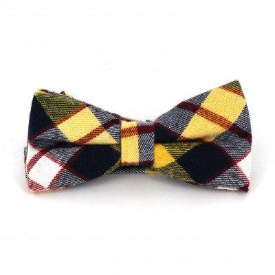 Pajarita Cuadros Escoceses Amarilla y Azul
