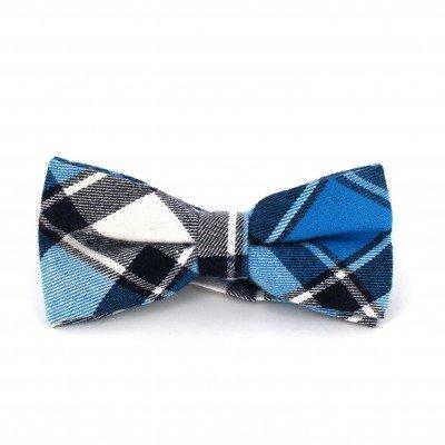 Pajarita Cuadros Escoceses Azul y Blanca