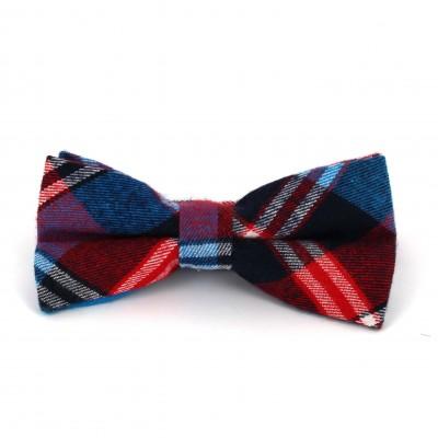 Pajarita Cuadros Escoceses Azul y Roja I