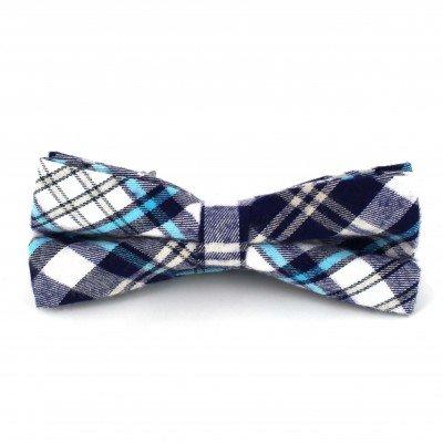 Pajarita Cuadros Escoceses Azul y Blanca III