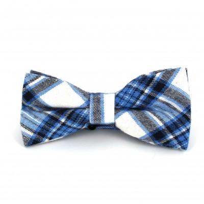 Pajarita Cuadros Escoceses Azul y Blanca IV
