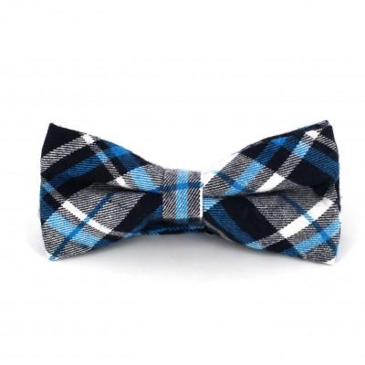 Pajarita Cuadros Escoceses Azul y Blanca II