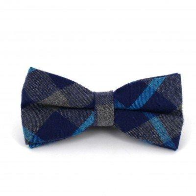 Pajarita Cuadros Escoceses Gris y Azul