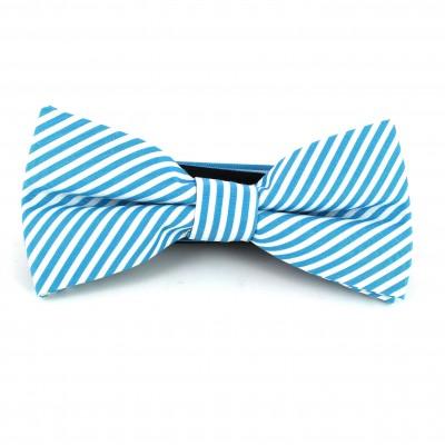 Pajarita Rayas Finas Azul Turquesa y Blanca