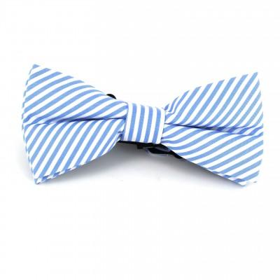 Pajarita Rayas Finas Azul Celeste y Blanca
