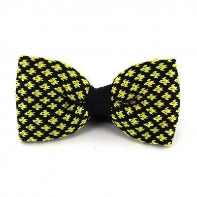Pajarita Punto Flor de Lis Negra y Amarilla