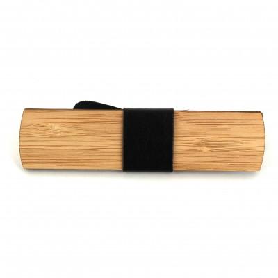 Pajarita Madera Bambú y Cuero