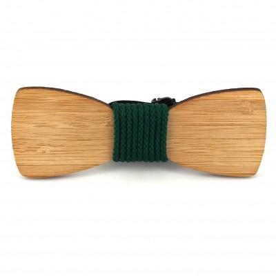 Pajarita Bambú Cordón Verde Oscuro
