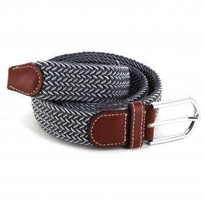 Cinturón Elástico Gris y Blanco