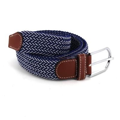 Cinturón Elástico Azul Marino y Blanco