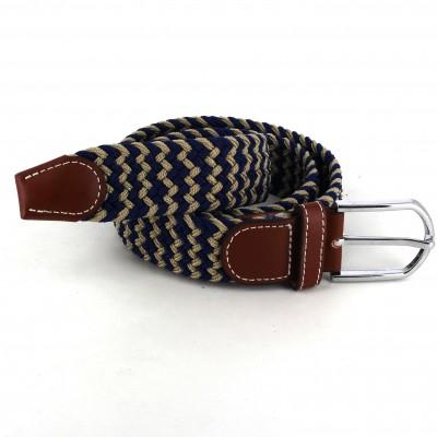 Cinturón Elástico Azul Marino y Marrón Claro