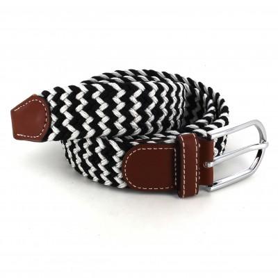 Cinturón Elástico Gris Claro y Negro