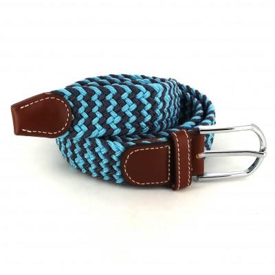 Cinturón Elástico Azul Claro y Gris Oscuro