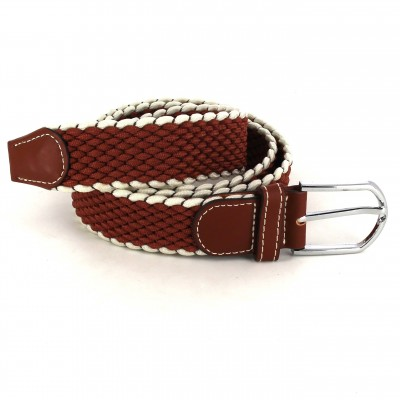 Cinturón Elástico Marrón y Blanco