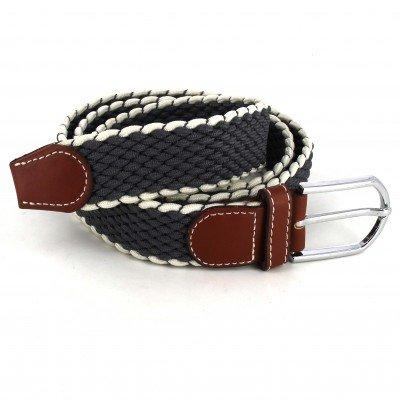 Cinturón Elástico Gris Oscuro y Blanco