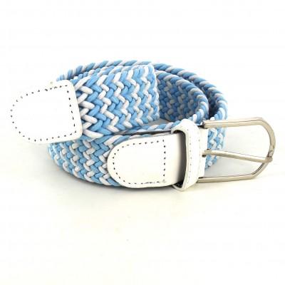 Cinturón Elástico Azul Claro y Blanco