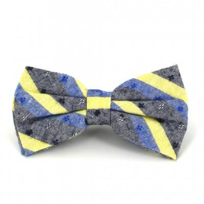 Pajarita Rayas Gris, Azul y Amarilla