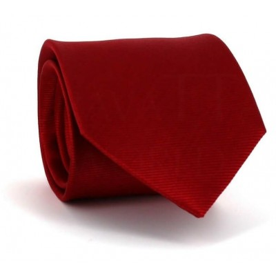 Corbata Lisa Roja Twill Horizontal