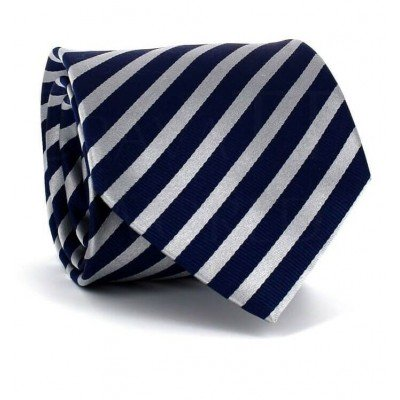 Corbata Rayas Azul y Plata
