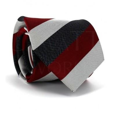 Corbata Rayas Tricolor Granate