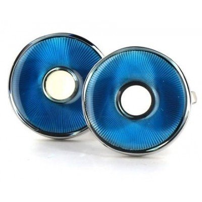Gemelos Esmaltados Circulares Azules