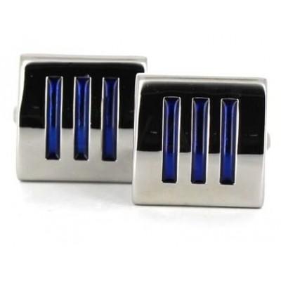 Gemelos Esmaltados Triple Raya Azul