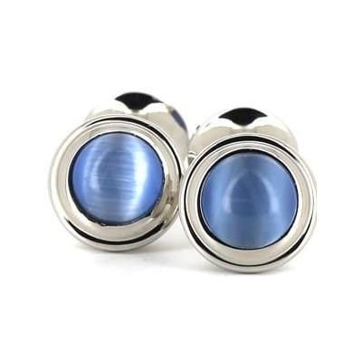 Gemelos Esmaltados Doble Bola Azul Claro