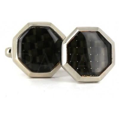 Gemelos Esmaltados Octagonal Negro