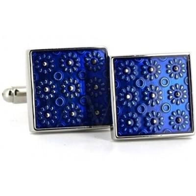 Gemelos Esmaltados Florales Azules