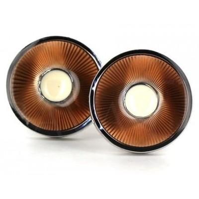 Gemelos Esmaltados Circulares Marrones Rayados