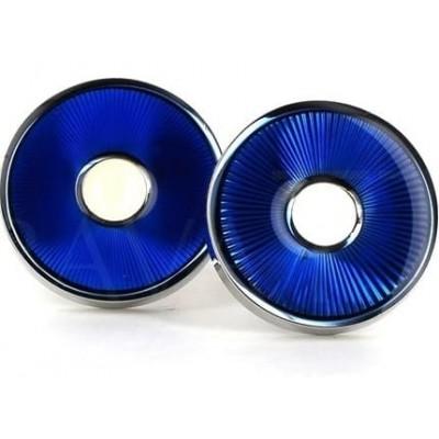 Gemelos Esmaltados Circulares Azul Intenso