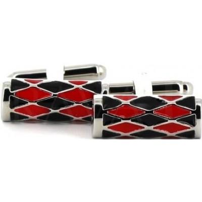 Gemelos Esmaltados Cilindros Rojos y Negros