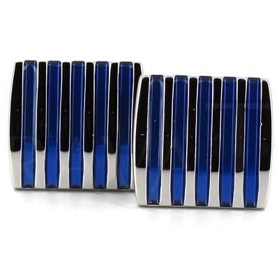 Gemelos Esmaltados Rayas Azules III