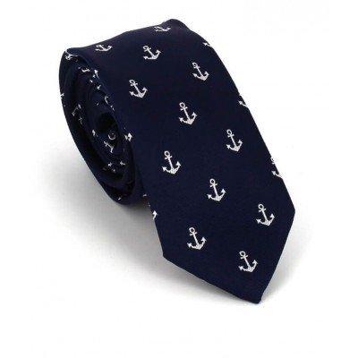Corbata Estrecha Anclas Azul