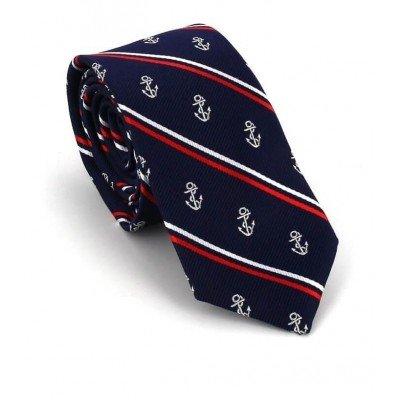 Corbata Estrecha Anclas Azul con Rayas