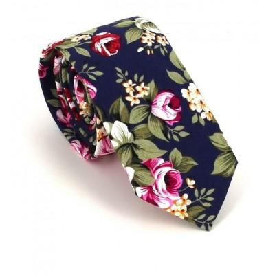 Corbata Estrecha Flores Azul Marino