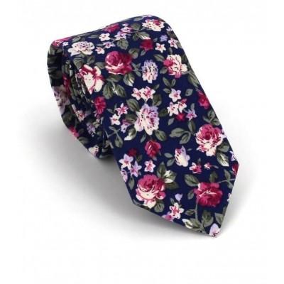 Corbata Estrecha Flores Azul