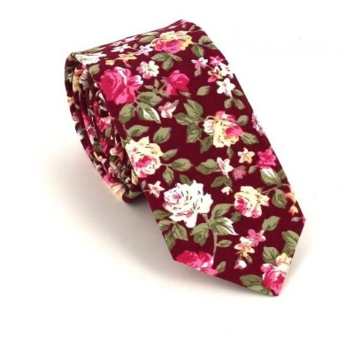 Corbata Estrecha Flores Burdeos