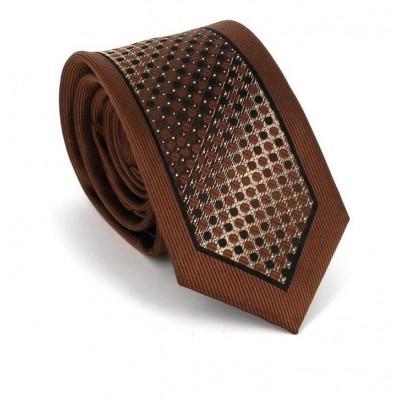 Corbata Estrecha Moderna Marrón y Negra