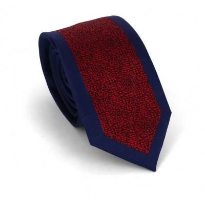Corbata Estrecha Moderna Azul Marino y Roja