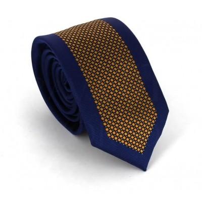 Corbata Estrecha Moderna Azul Marino y Dorada