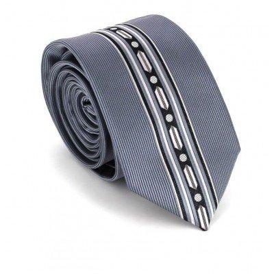 Corbata Estrecha Dibujo Vertical Gris
