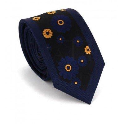 Corbata Estrecha Estampado Flores Azul Marino