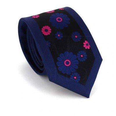 Corbata Estrecha Estampado Flores Azul Marino I