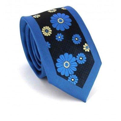 Corbata Estrecha Estampado Flores Azul
